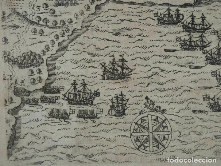 Arte: Plano y vista de Santo Domingo (R. Dominicana, América), 1655. De Bry/Merian/Gottfried - Foto 6 - 195273377