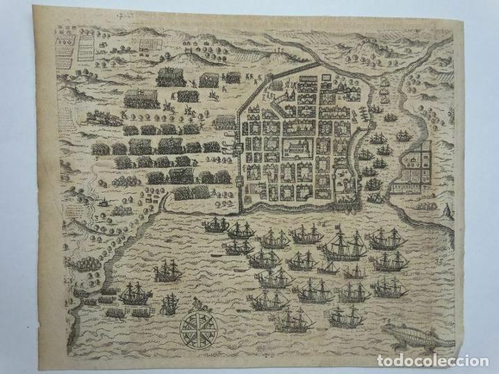 Arte: Plano y vista de Santo Domingo (R. Dominicana, América), 1655. De Bry/Merian/Gottfried - Foto 9 - 195273377