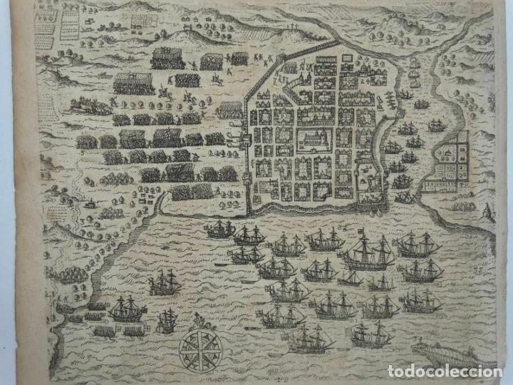 PLANO Y VISTA DE SANTO DOMINGO (R. DOMINICANA, AMÉRICA), 1655. DE BRY/MERIAN/GOTTFRIED (Arte - Cartografía Antigua (hasta S. XIX))