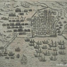 Arte: PLANO Y VISTA DE SANTO DOMINGO (R. DOMINICANA, AMÉRICA), 1655. DE BRY/MERIAN/GOTTFRIED. Lote 195273377