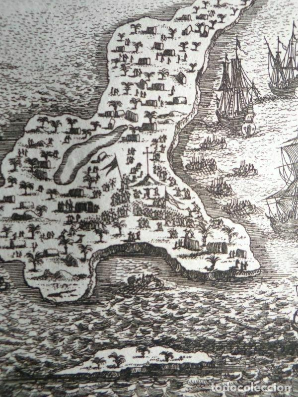 Arte: Vista y plano de la isla de Guanahari o San Salvador (Bahamas, Antillas, América), 1683. A. Mallet - Foto 2 - 195280456
