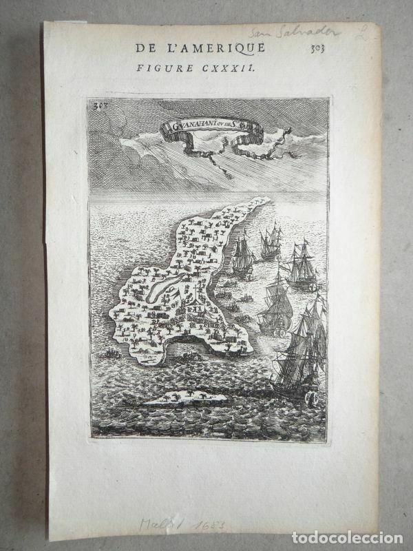 Arte: Vista y plano de la isla de Guanahari o San Salvador (Bahamas, Antillas, América), 1683. A. Mallet - Foto 3 - 195280456
