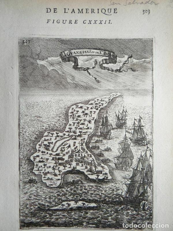 VISTA Y PLANO DE LA ISLA DE GUANAHARI O SAN SALVADOR (BAHAMAS, ANTILLAS, AMÉRICA), 1683. A. MALLET (Arte - Cartografía Antigua (hasta S. XIX))