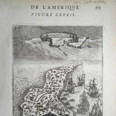 Arte: VISTA Y PLANO DE LA ISLA DE GUANAHARI O SAN SALVADOR (BAHAMAS, ANTILLAS, AMÉRICA), 1683. A. MALLET. Lote 195280456