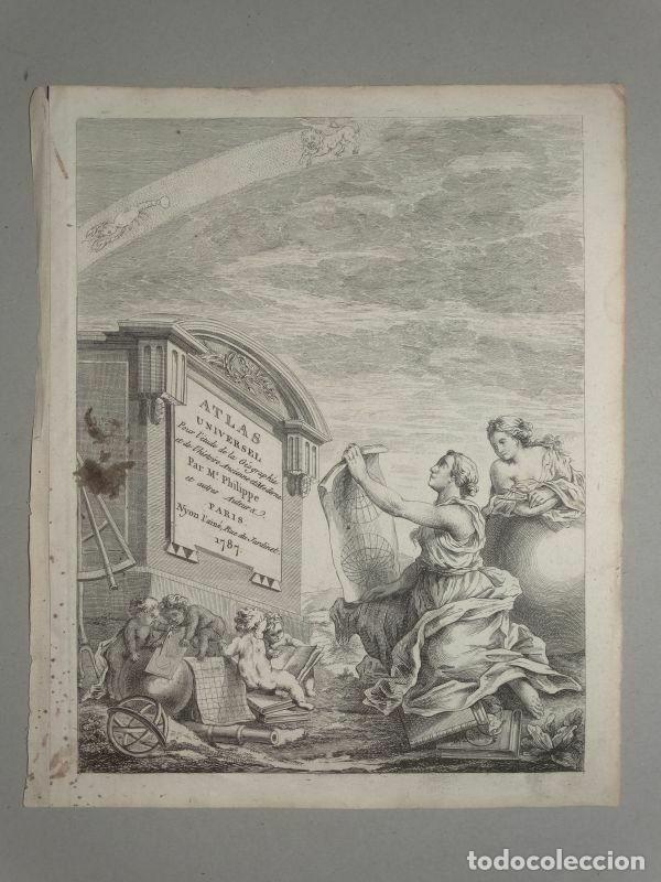 FRONSTISPICIO DE ATLAS UNIVERSAL, 1787, PHILIPPE DE PRÉTOT (Arte - Cartografía Antigua (hasta S. XIX))