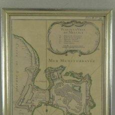 Arte: PLANO DE LA CIUDAD Y PUERTO DE MELILLA (ESPAÑA), HACIA 1745. NICOLAS BELLIN. Lote 195321557
