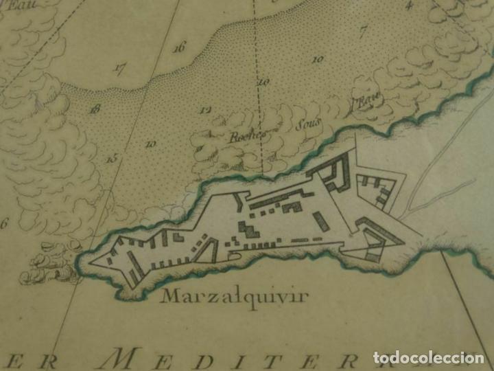 Arte: Plano de la fortaleza y puerto de Marzalquivir (Argelia, África), 1764. Nicolas Bellin - Foto 2 - 195324127