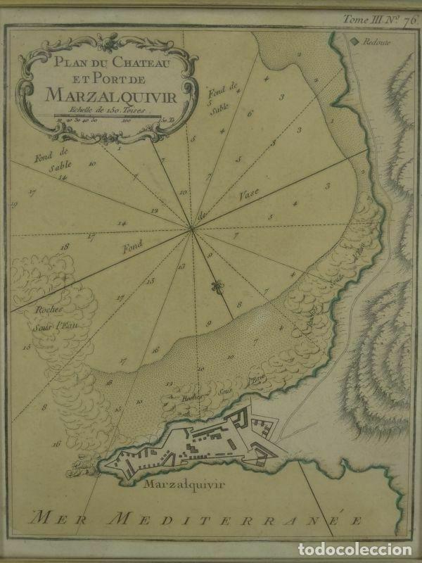 Arte: Plano de la fortaleza y puerto de Marzalquivir (Argelia, África), 1764. Nicolas Bellin - Foto 4 - 195324127