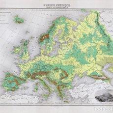 Arte: MAPA DE LA EUROPA FÍSICA, DE 1894. LITOGRAFÍA COLOREADA DE LACOSTE Y LECOCQ. ATLAS MIGEON. Lote 195421498