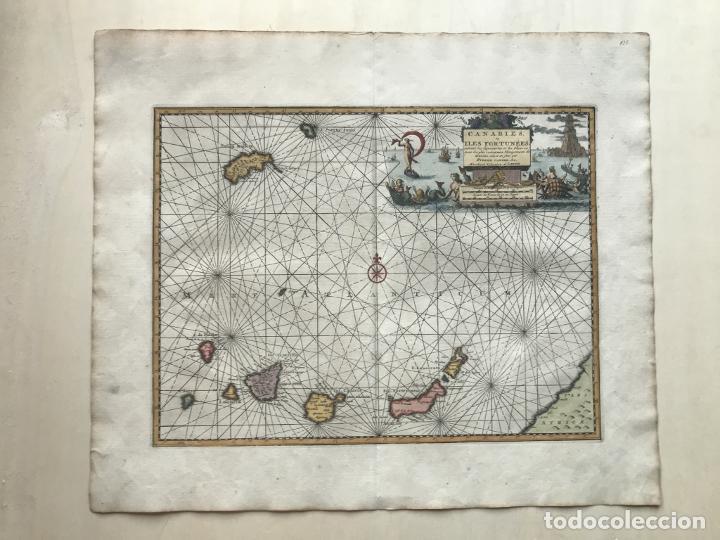 Arte: Carta náutica de las islas Canarias (España) y Madeira (Portugal), 1727. Van der Aa/Mandelslo - Foto 2 - 195571896