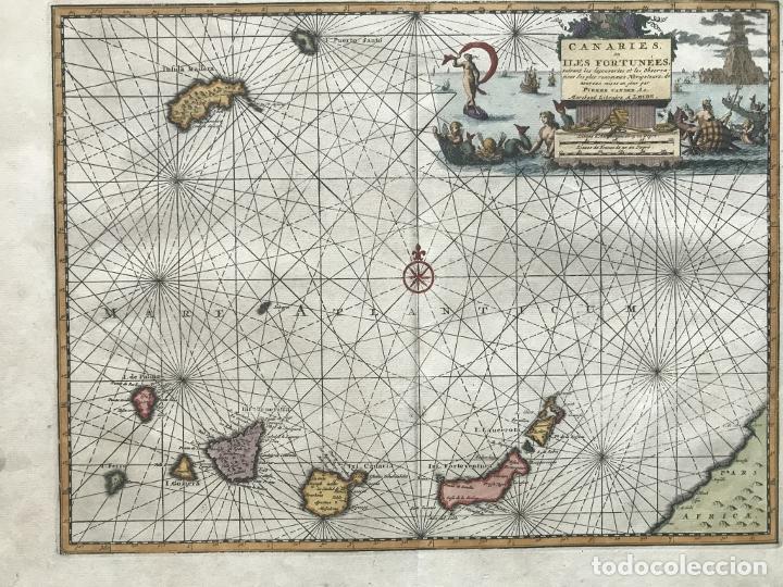 Arte: Carta náutica de las islas Canarias (España) y Madeira (Portugal), 1727. Van der Aa/Mandelslo - Foto 3 - 195571896