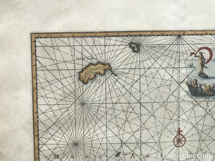 Arte: Carta náutica de las islas Canarias (España) y Madeira (Portugal), 1727. Van der Aa/Mandelslo - Foto 4 - 195571896