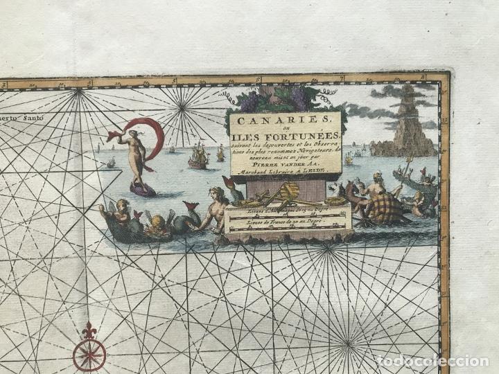 Arte: Carta náutica de las islas Canarias (España) y Madeira (Portugal), 1727. Van der Aa/Mandelslo - Foto 5 - 195571896
