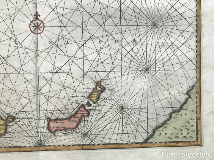 Arte: Carta náutica de las islas Canarias (España) y Madeira (Portugal), 1727. Van der Aa/Mandelslo - Foto 6 - 195571896