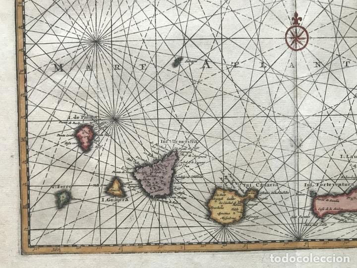 Arte: Carta náutica de las islas Canarias (España) y Madeira (Portugal), 1727. Van der Aa/Mandelslo - Foto 7 - 195571896