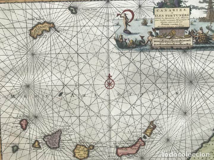 Arte: Carta náutica de las islas Canarias (España) y Madeira (Portugal), 1727. Van der Aa/Mandelslo - Foto 8 - 195571896
