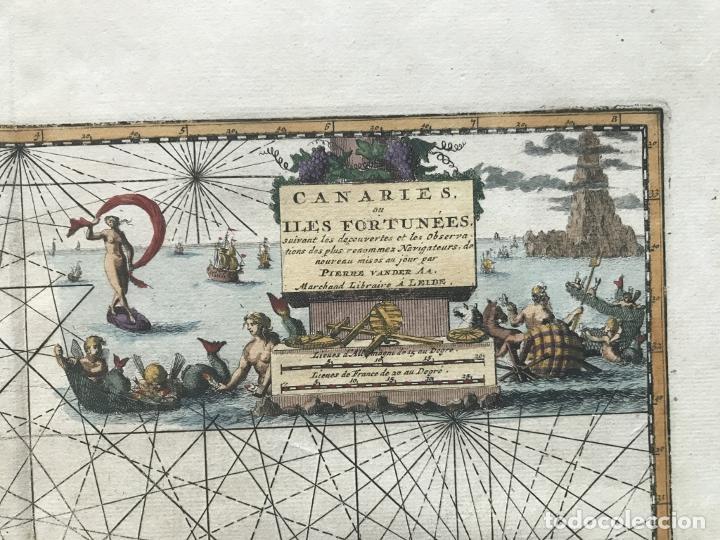 Arte: Carta náutica de las islas Canarias (España) y Madeira (Portugal), 1727. Van der Aa/Mandelslo - Foto 9 - 195571896