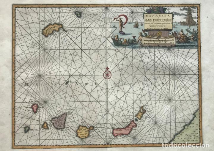 CARTA NÁUTICA DE LAS ISLAS CANARIAS (ESPAÑA) Y MADEIRA (PORTUGAL), 1727. VAN DER AA/MANDELSLO (Arte - Cartografía Antigua (hasta S. XIX))