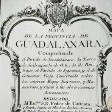 Arte: MAPA TOMAS LÓPEZ MAPA PROVINCIA GUADALAJARA PARTIDOS JADRAQUE HITA BUTRAGO SIGUENZA COLMENAR 1766. Lote 196940495