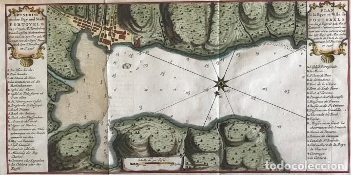 Arte: Mapa de la bahía de Portobelo (Panamá, America central), 1754. Bellin/Prevost/Schwabe - Foto 2 - 197634365