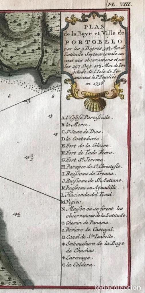 Arte: Mapa de la bahía de Portobelo (Panamá, America central), 1754. Bellin/Prevost/Schwabe - Foto 6 - 197634365