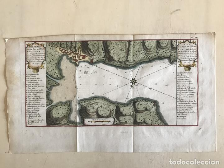 Arte: Mapa de la bahía de Portobelo (Panamá, America central), 1754. Bellin/Prevost/Schwabe - Foto 7 - 197634365