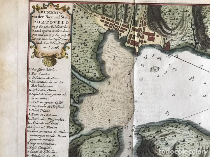 Arte: Mapa de la bahía de Portobelo (Panamá, America central), 1754. Bellin/Prevost/Schwabe - Foto 8 - 197634365