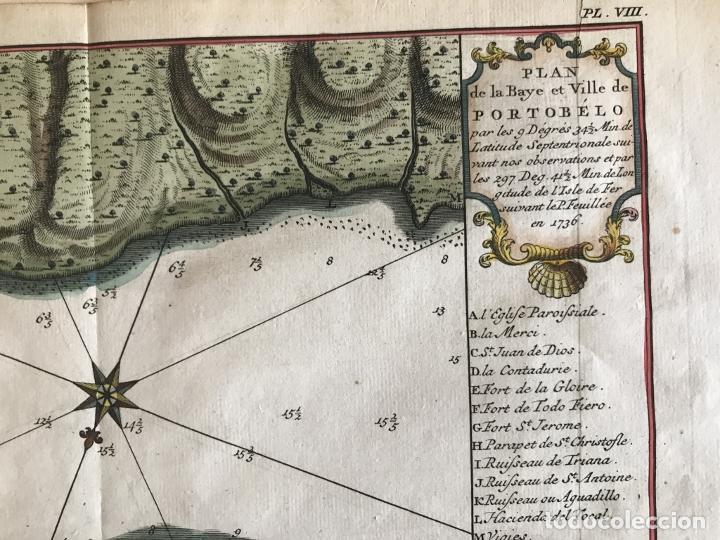 Arte: Mapa de la bahía de Portobelo (Panamá, America central), 1754. Bellin/Prevost/Schwabe - Foto 10 - 197634365