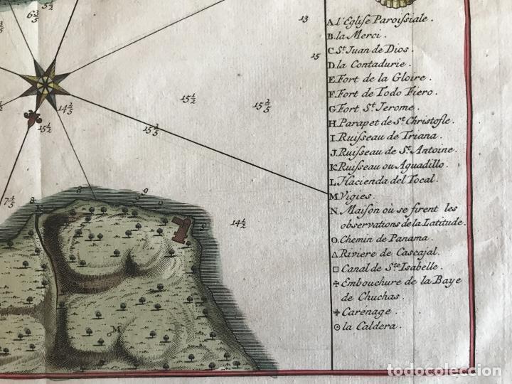 Arte: Mapa de la bahía de Portobelo (Panamá, America central), 1754. Bellin/Prevost/Schwabe - Foto 11 - 197634365