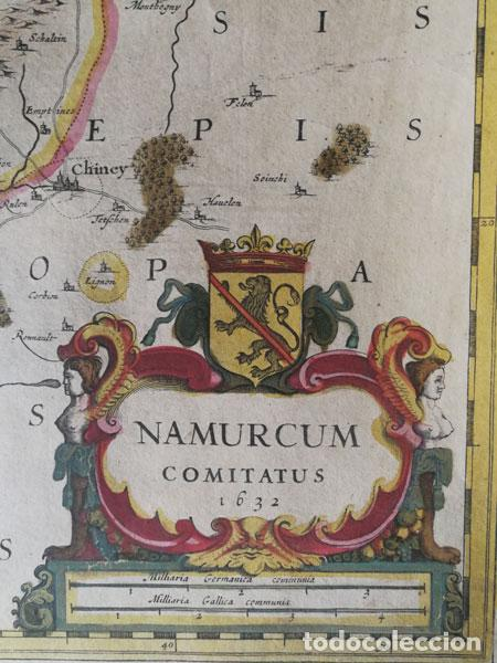 Arte: Mapa Namurcur Comitatus,1632(Amsterdam)Hondius.Namur,Charleroi,Dinant Valonia,Belgica.RioSambre,Mosa - Foto 2 - 198460270