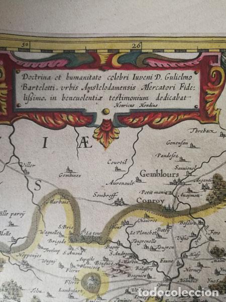 Arte: Mapa Namurcur Comitatus,1632(Amsterdam)Hondius.Namur,Charleroi,Dinant Valonia,Belgica.RioSambre,Mosa - Foto 5 - 198460270