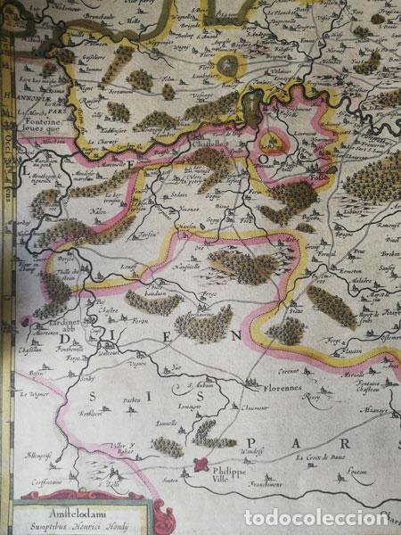 Arte: Mapa Namurcur Comitatus,1632(Amsterdam)Hondius.Namur,Charleroi,Dinant Valonia,Belgica.RioSambre,Mosa - Foto 6 - 198460270