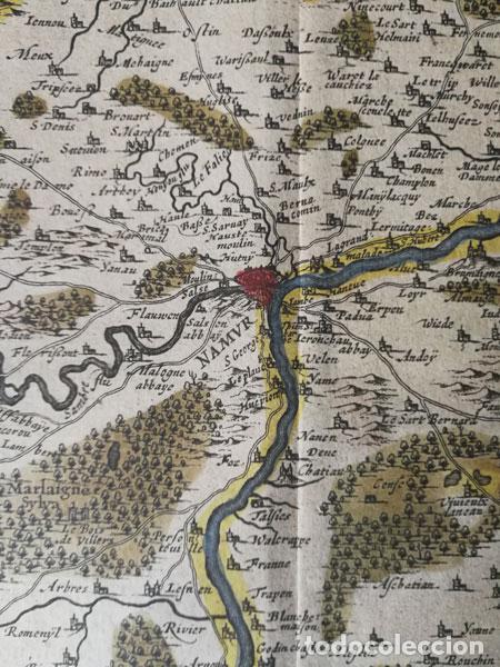 Arte: Mapa Namurcur Comitatus,1632(Amsterdam)Hondius.Namur,Charleroi,Dinant Valonia,Belgica.RioSambre,Mosa - Foto 7 - 198460270