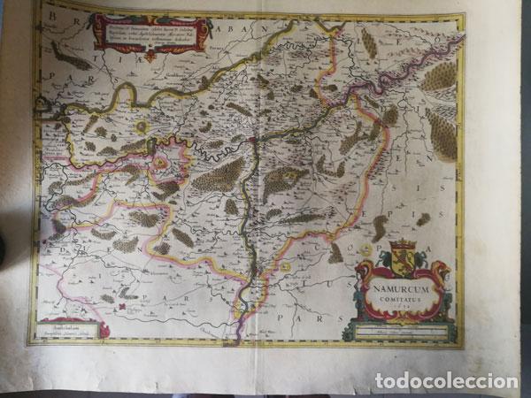 MAPA NAMURCUR COMITATUS,1632(AMSTERDAM)HONDIUS.NAMUR,CHARLEROI,DINANT VALONIA,BELGICA.RIOSAMBRE,MOSA (Arte - Cartografía Antigua (hasta S. XIX))