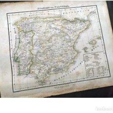 Arte: MAPA DE ESPAÑA DEL SIGLO XIX DE 42 CM.. Lote 198739115