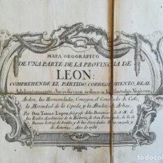 Art: MAPA DE LEON - TOMAS LOPEZ - AÑO 1766 - MEDIDAS 108X85 CM. Lote 199278113