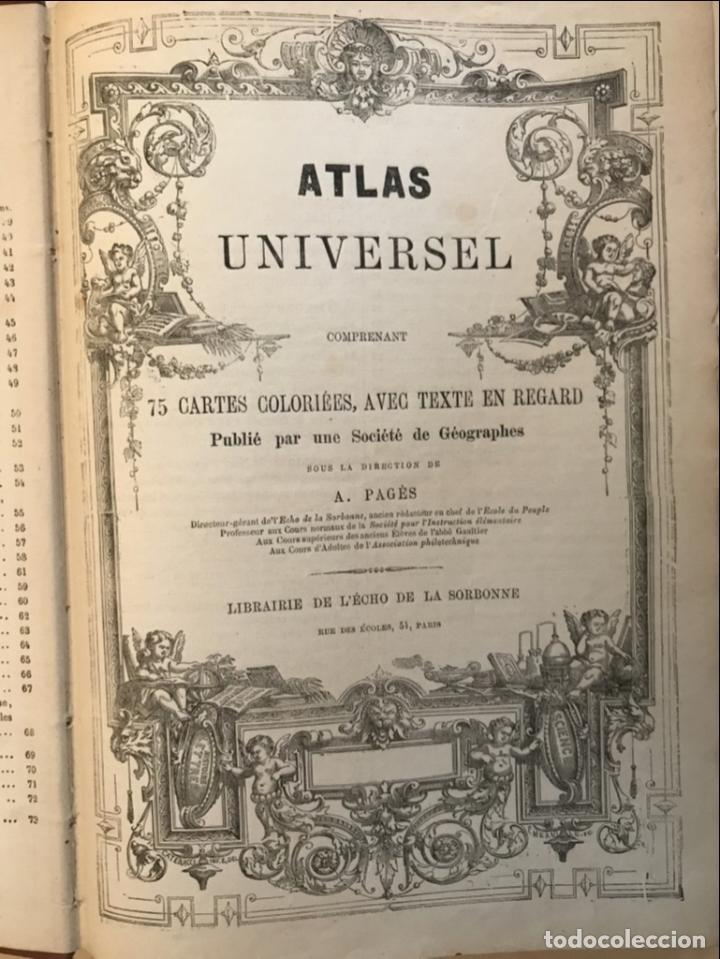 Arte: Atlas universel, hacia 1875. A. Pagès. Con 75 mapas a color - Foto 7 - 199376696