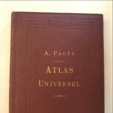 Arte: ATLAS UNIVERSEL, HACIA 1875. A. PAGÈS. CON 75 MAPAS A COLOR. Lote 199376696