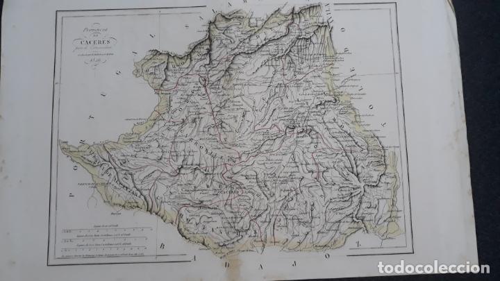 MAPA DE LA PROVINCIA DE CACERES GRABADO R.MABERN Y E.MABON,CON CUADRO DE LA GEOGRAFIA (Arte - Cartografía Antigua (hasta S. XIX))