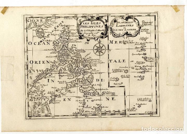 FILIPINAS, MAPA DE SANSON CON OROGRAFIA. S. XVII. MUY RARA EDICIÓN. (Arte - Cartografía Antigua (hasta S. XIX))