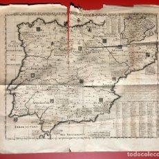 Arte: MAPA HISTÓRICO GEOGRÁFICO DEL REINO DE ESPAÑA Y PORTUGAL CIRCA 1720 - 59X51CM. Lote 204350423