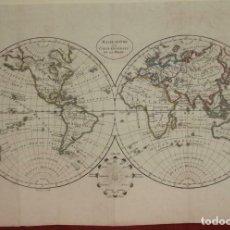 Arte: MAPA DEL MUNDO CON SUS HEMISFERIOS, 1817. BLONDEAU. Lote 204754045