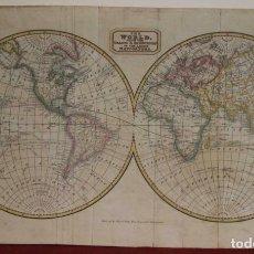 Arte: MAPA DEL MUNDO Y SUS DOS HEMISFERIOS, 1820. THOMAS KELLY. Lote 204824918