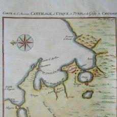 Arte: MAPA DE LA CIUDAD DE CARTAGO E INMEDIACIONES (TÚNES, NORTE DE ÁFRICA), 1742. ARKSTREE ET MERKUSM. Lote 205023940