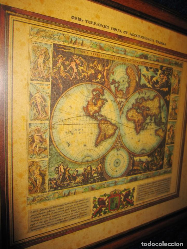 CUADRO MAPA ORBIS TERRARUM NOVA ET ACCURATISSIMA TABULA. NICOLAU VISSCHER NICOLAS NICOLAES 1658 (Arte - Cartografía Antigua (hasta S. XIX))