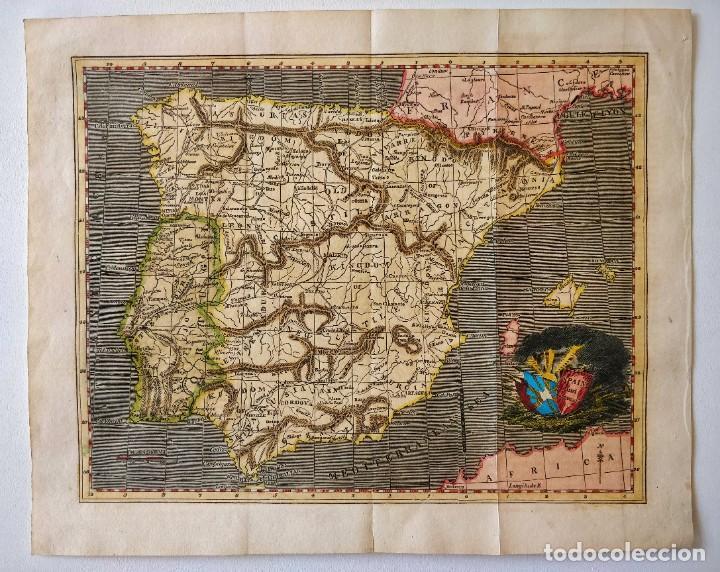 MAPA DE ESPAÑA PINTADO EN COLOR A MANO EN ACUARELA, GUERRAS REVOLUCIÓN FRANCESA, FINALES SIGLO XVIII (Arte - Cartografía Antigua (hasta S. XIX))