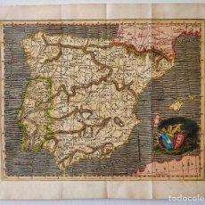 Arte: MAPA DE ESPAÑA PINTADO EN COLOR A MANO EN ACUARELA, GUERRAS REVOLUCIÓN FRANCESA, FINALES SIGLO XVIII. Lote 205359872
