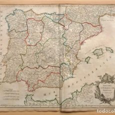 Arte: MAPA ANTIGUO SIGLO XVIII PENÍNSULA IBÉRICA ESPAÑA PORTUGAL 1750 VAUGONDY. Lote 205813726