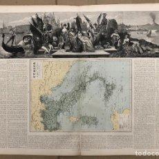 Arte: MAPA ITALIA. ATLAS GEOGRAFICO UNIVERSAL. JUAN VILANOVA, OTTO NEUSSEL. 1ª EDICION, 1877. Lote 206329756