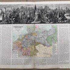 Arte: MAPA IMPERIO DE ALEMANIA, BELGICA Y HOLANDA. ATLAS GEOGRAFICO UNIVERSAL. JUAN VILANOVA, OTTO NEUSSEL. Lote 206339077